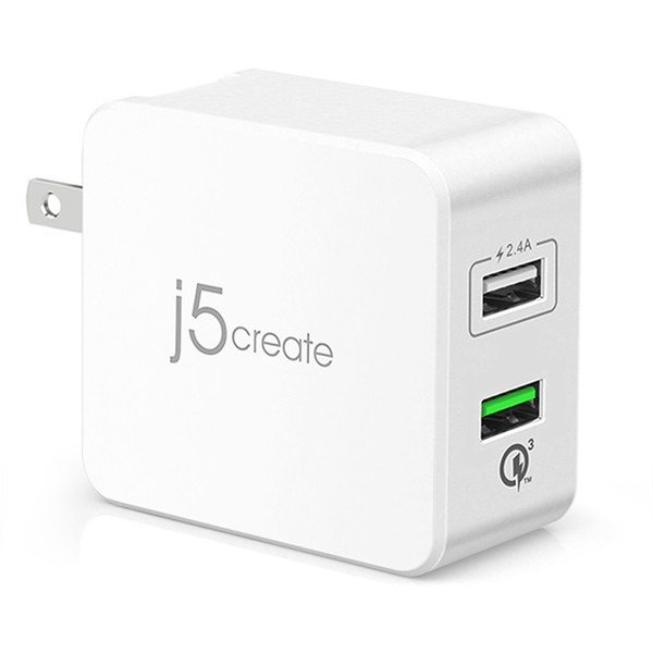 j5 create JUP20 ホワイト [Quick Charge 3.0対応 31.5W 2ポートUSB充電器 31.5W 2port USB Super Charger JUP20] ACチャージャー・アダプター